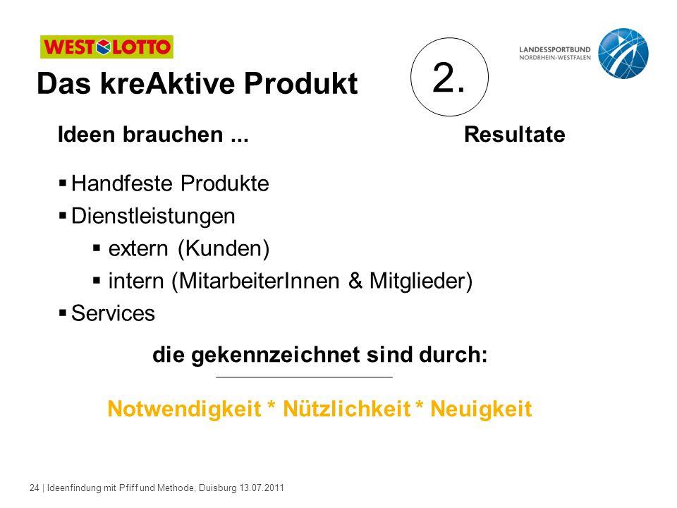 2. Das kreAktive Produkt Ideen brauchen ... Resultate