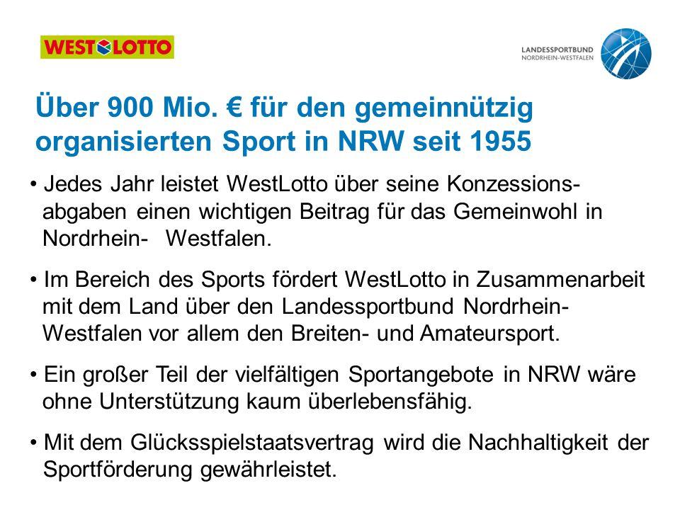 Über 900 Mio. € für den gemeinnützig organisierten Sport in NRW seit 1955