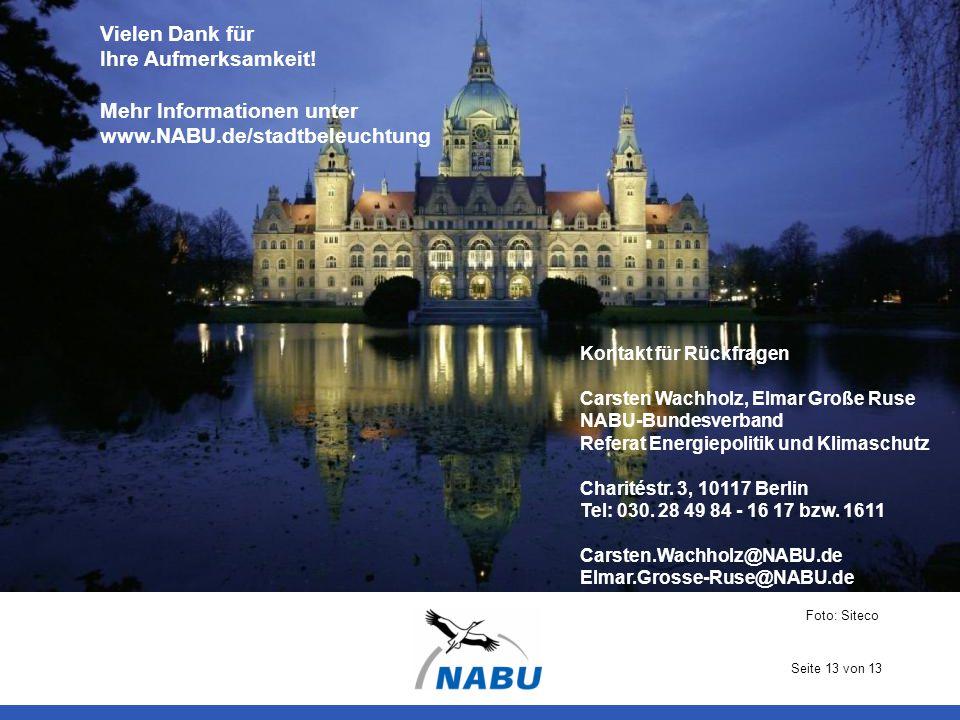 Vielen Dank für Ihre Aufmerksamkeit! Mehr Informationen unter www.NABU.de/stadtbeleuchtung