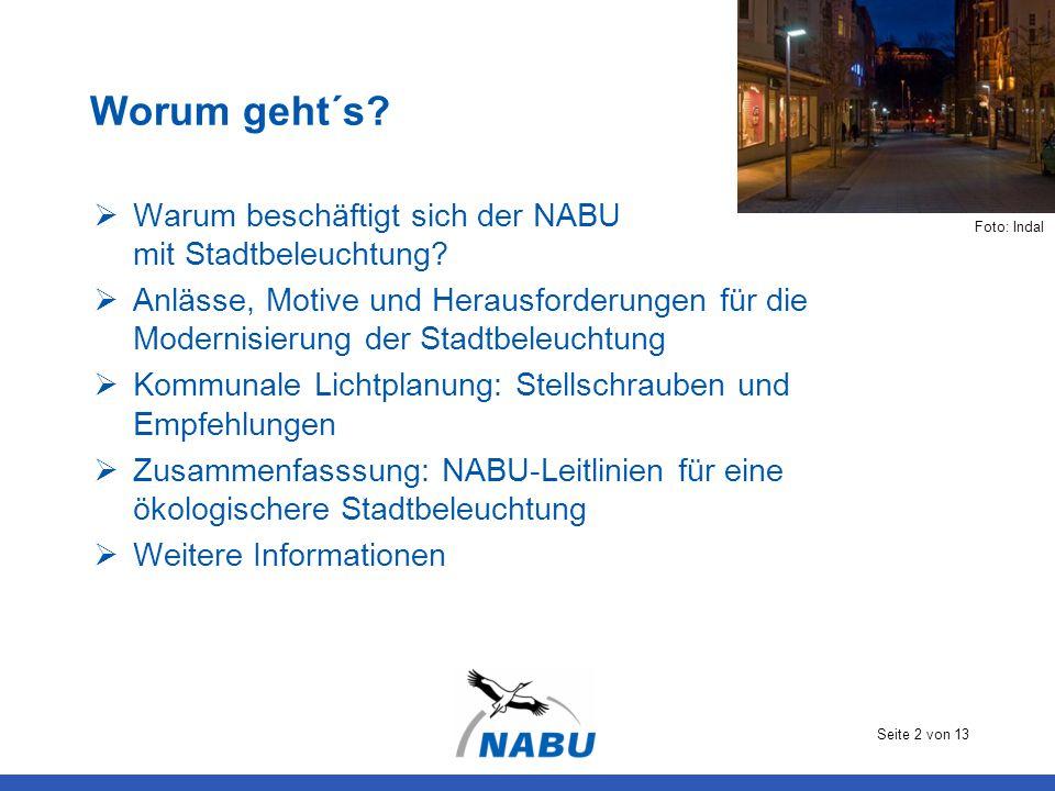 Worum geht´s Warum beschäftigt sich der NABU mit Stadtbeleuchtung