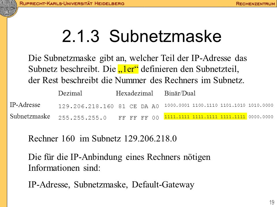 2.1.3 Subnetzmaske