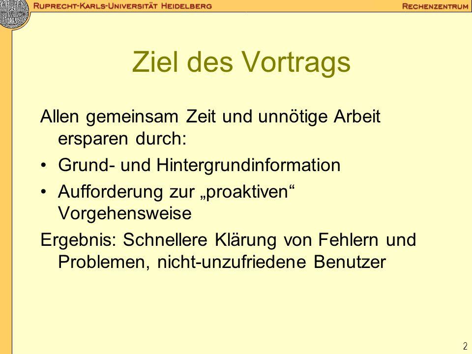 Ziel des Vortrags Allen gemeinsam Zeit und unnötige Arbeit ersparen durch: Grund- und Hintergrundinformation.