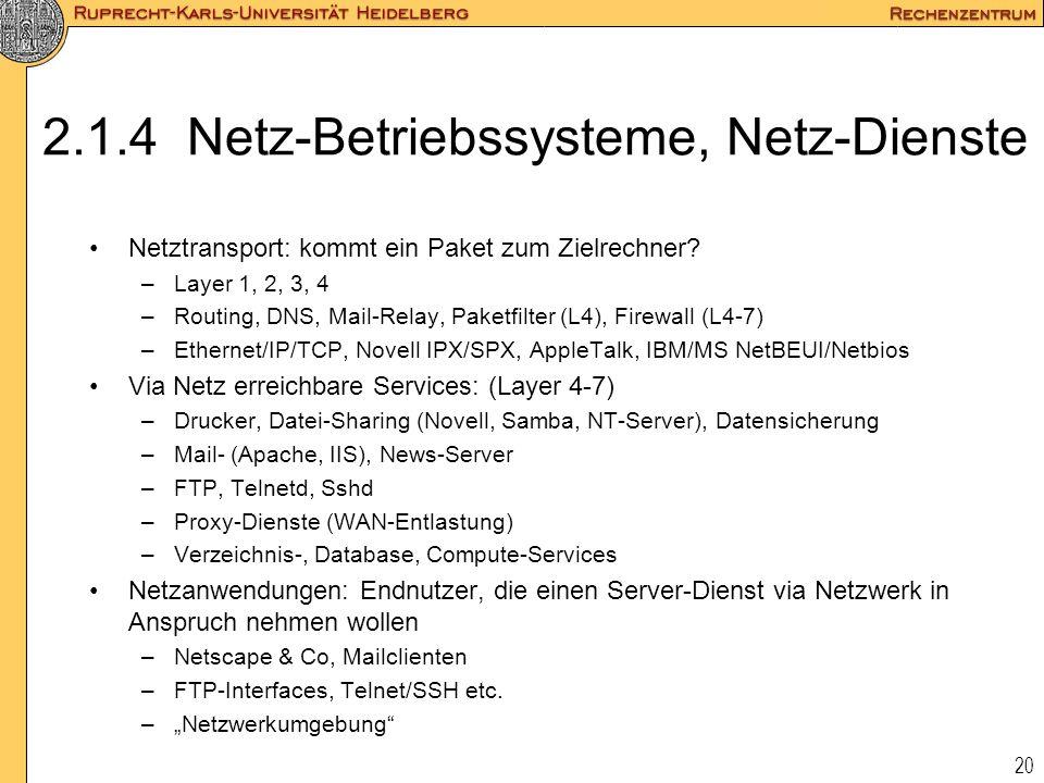 2.1.4 Netz-Betriebssysteme, Netz-Dienste
