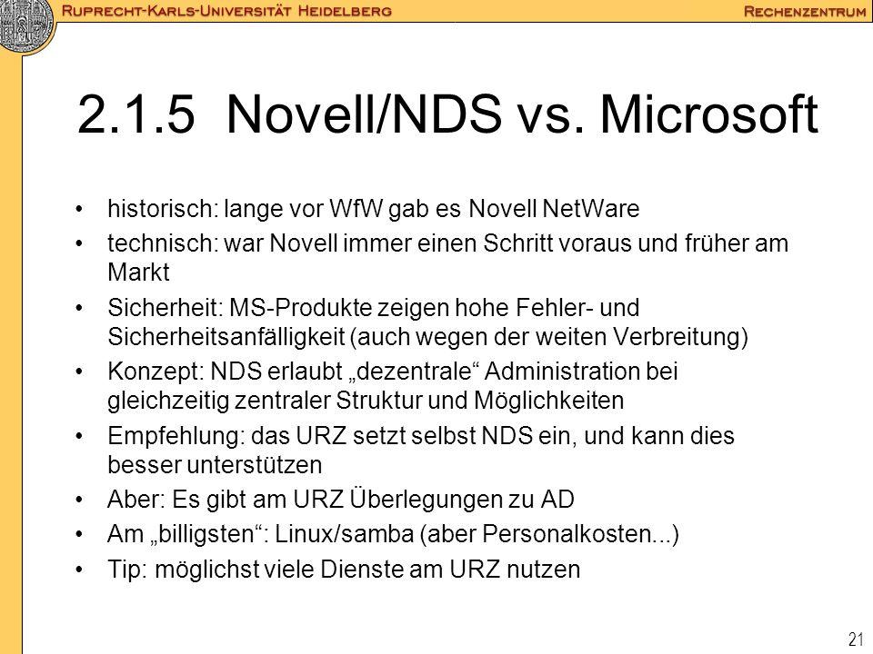 2.1.5 Novell/NDS vs. Microsoft