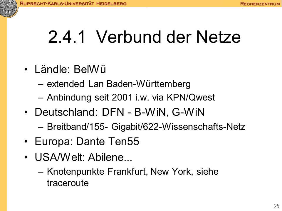 2.4.1 Verbund der Netze Ländle: BelWü Deutschland: DFN - B-WiN, G-WiN