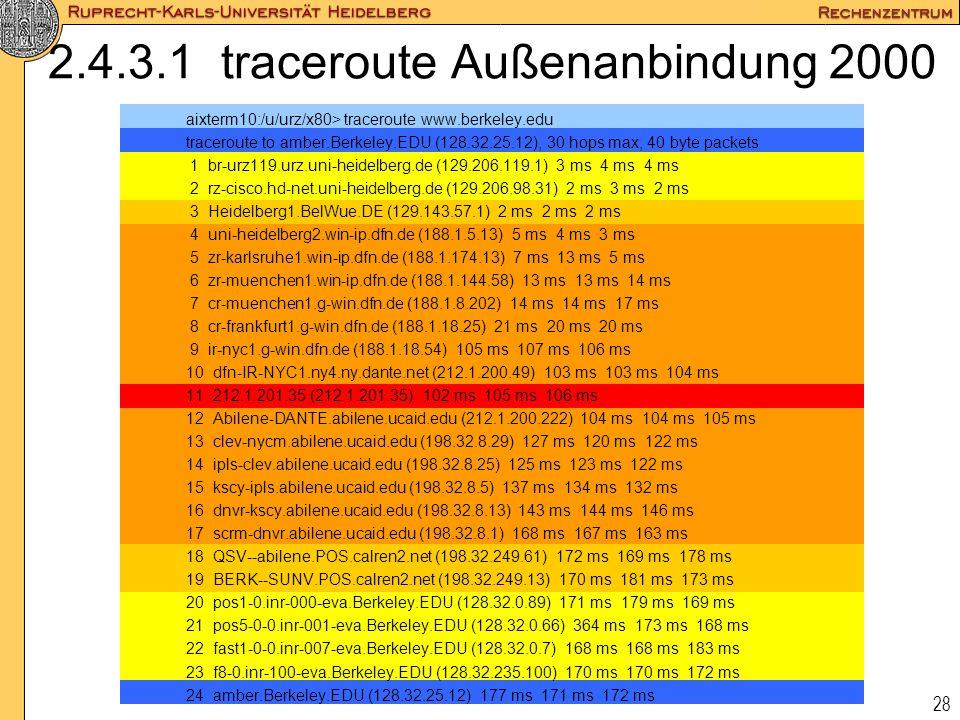 2.4.3.1 traceroute Außenanbindung 2000