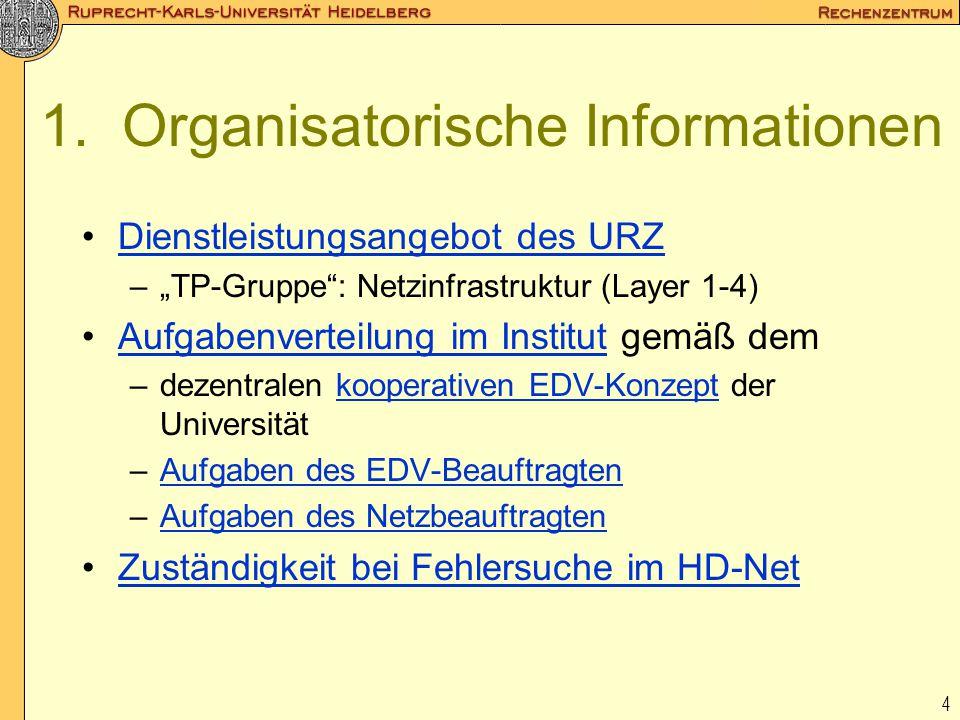 1. Organisatorische Informationen