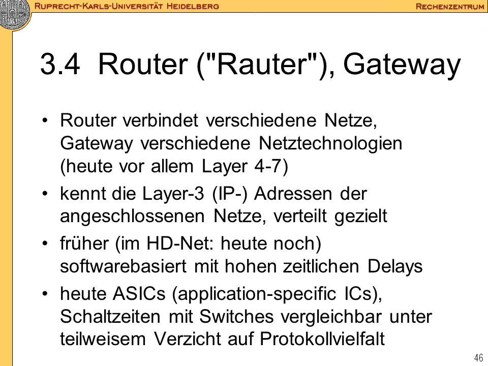 3.4 Router ( Rauter ), Gateway