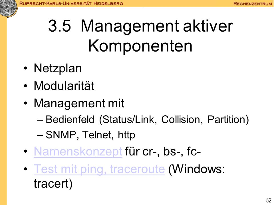 3.5 Management aktiver Komponenten
