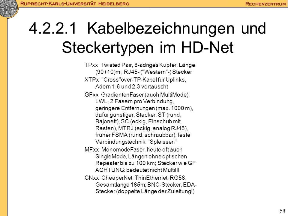 4.2.2.1 Kabelbezeichnungen und Steckertypen im HD-Net