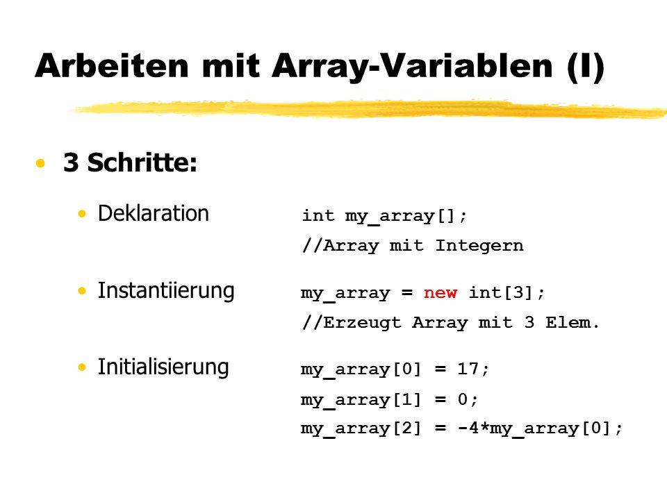 Arbeiten mit Array-Variablen (I)