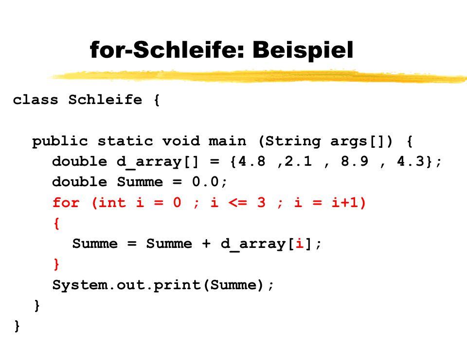 for-Schleife: Beispiel