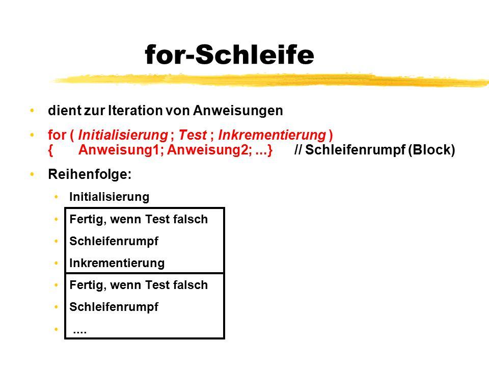 for-Schleife dient zur Iteration von Anweisungen