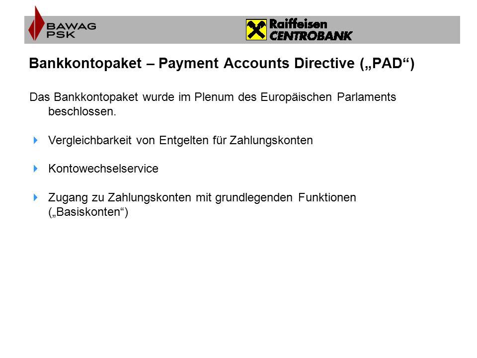 "Bankkontopaket – Payment Accounts Directive (""PAD )"