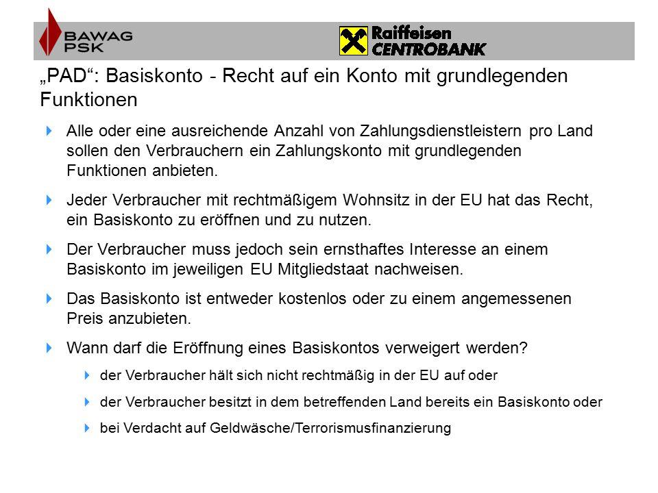 """""""PAD : Basiskonto - Recht auf ein Konto mit grundlegenden Funktionen"""