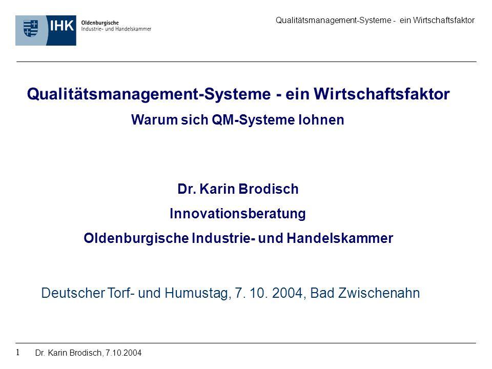 Qualitätsmanagement-Systeme - ein Wirtschaftsfaktor