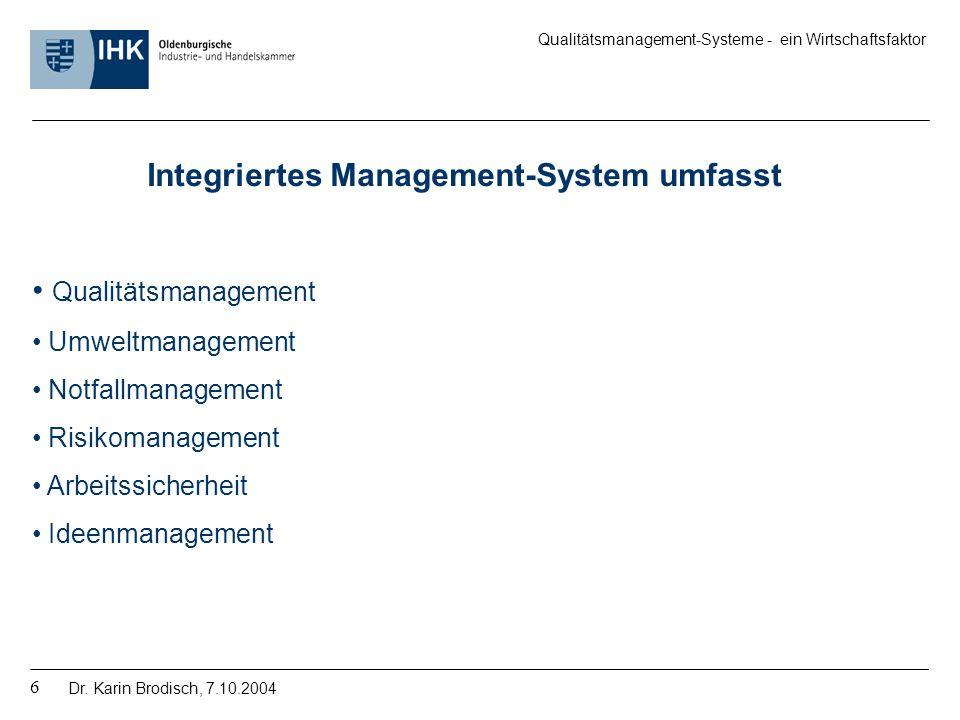 Integriertes Management-System umfasst