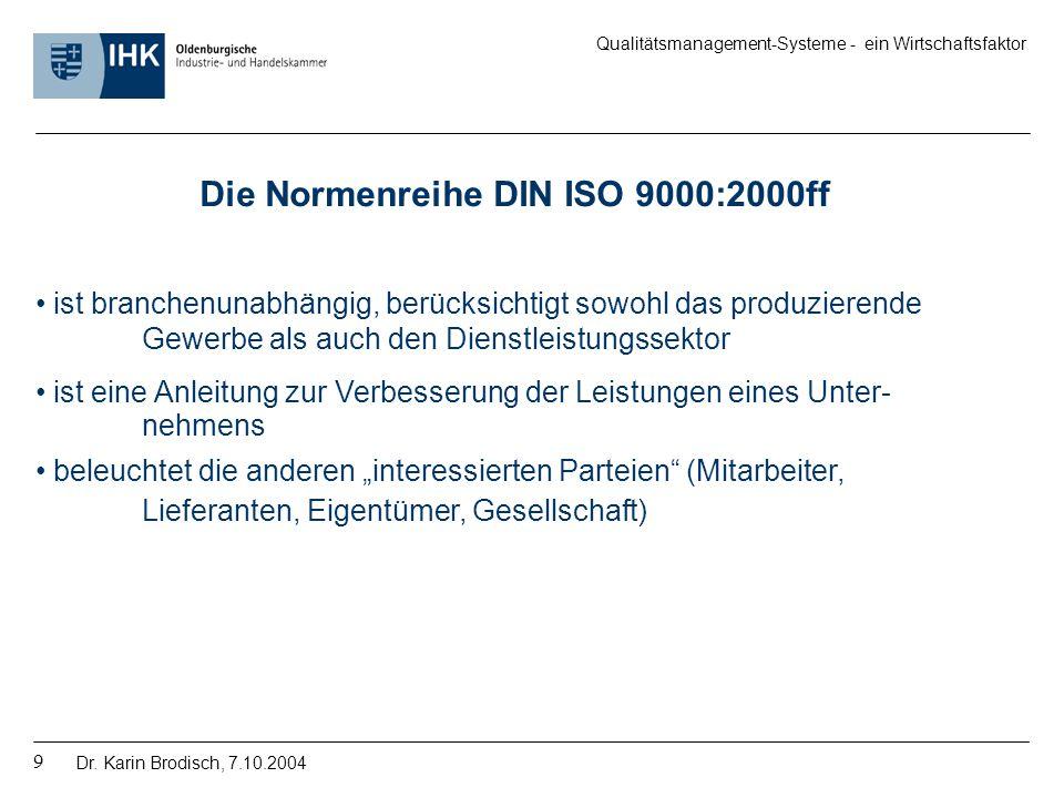 Die Normenreihe DIN ISO 9000:2000ff