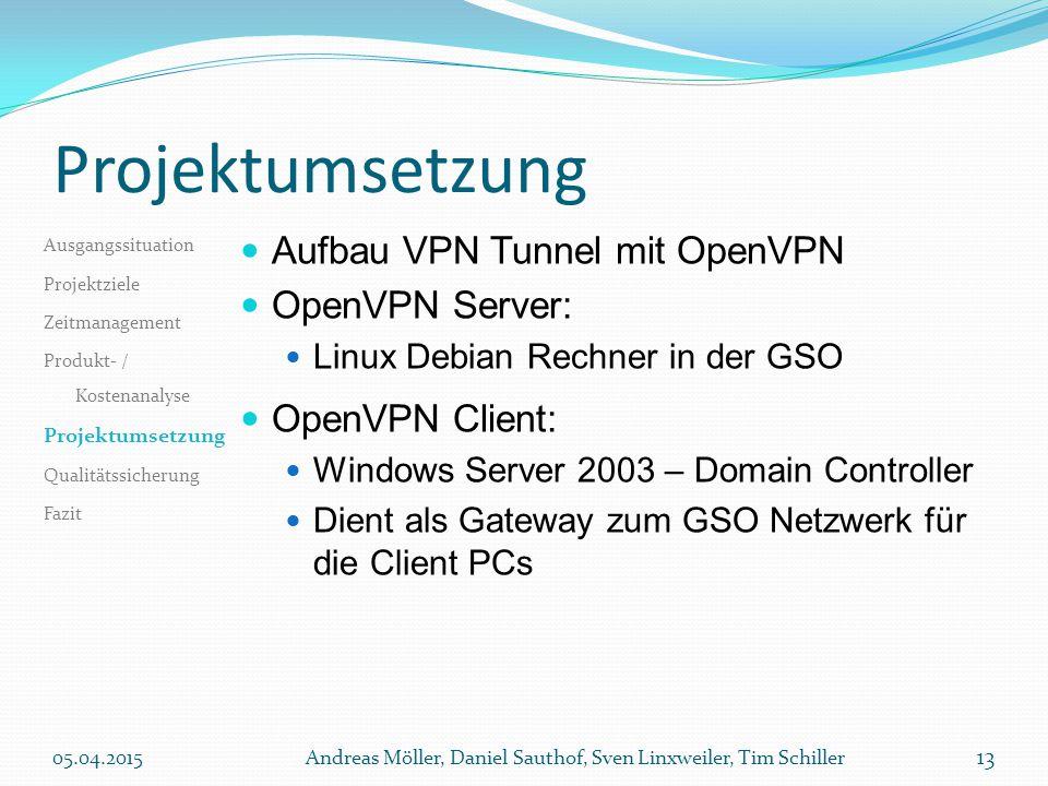 Projektumsetzung Aufbau VPN Tunnel mit OpenVPN OpenVPN Server: