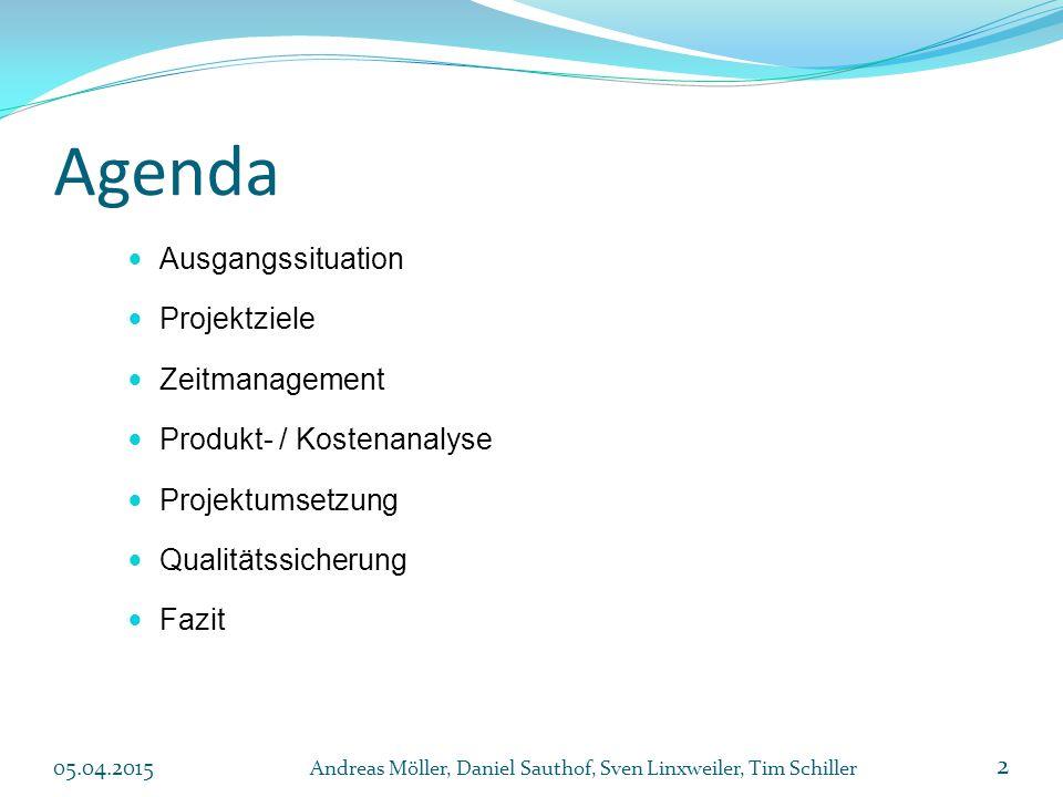 Agenda Ausgangssituation Projektziele Zeitmanagement