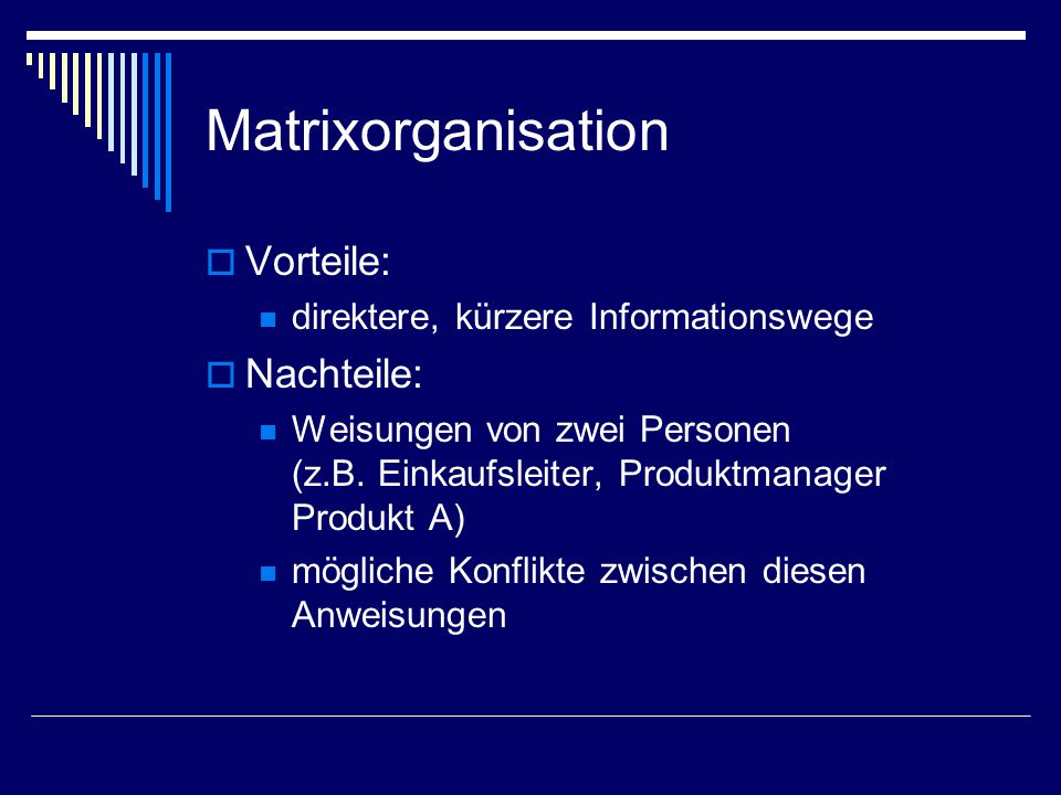 Matrixorganisation Vorteile: Nachteile: