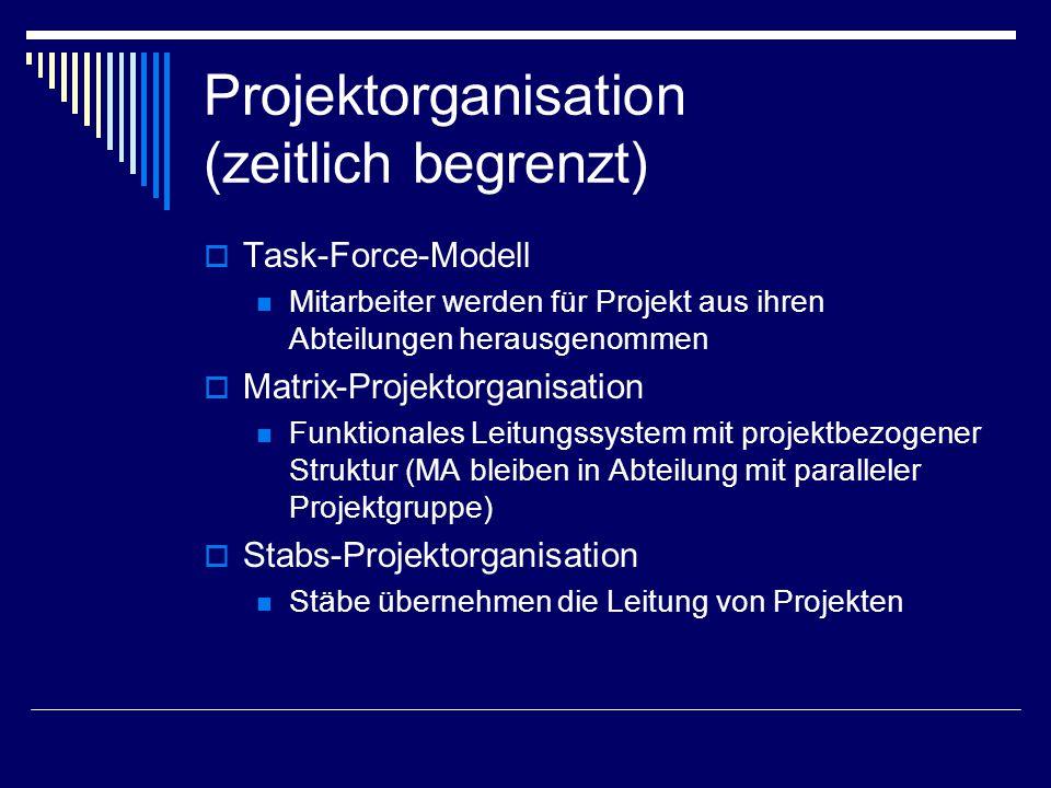 Projektorganisation (zeitlich begrenzt)