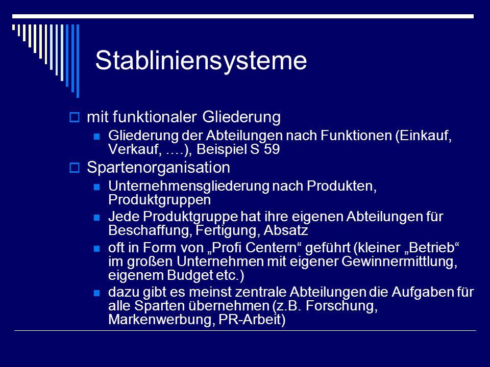 Stabliniensysteme mit funktionaler Gliederung Spartenorganisation
