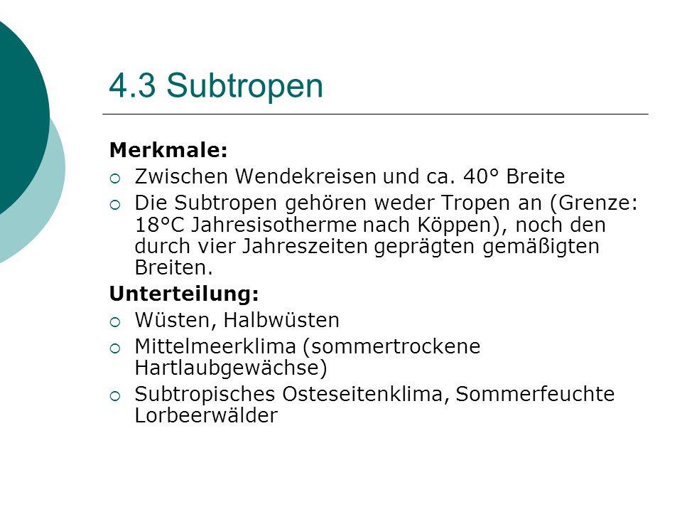 4.3 Subtropen Merkmale: Zwischen Wendekreisen und ca. 40° Breite