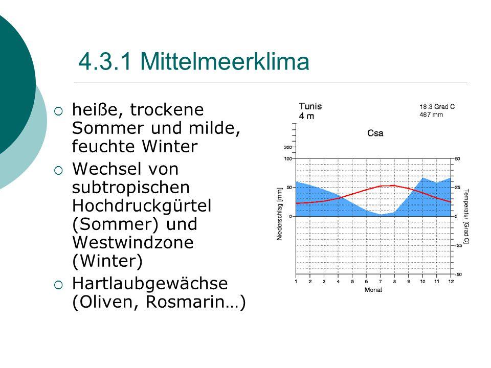 4.3.1 Mittelmeerklima heiße, trockene Sommer und milde, feuchte Winter
