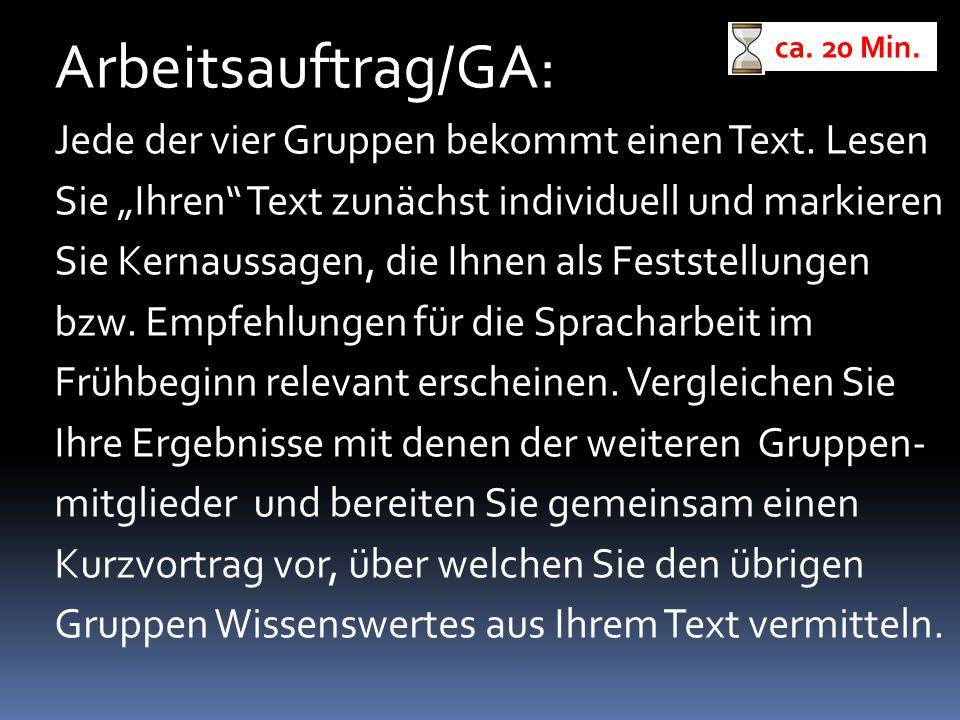 Arbeitsauftrag/GA: Jede der vier Gruppen bekommt einen Text. Lesen