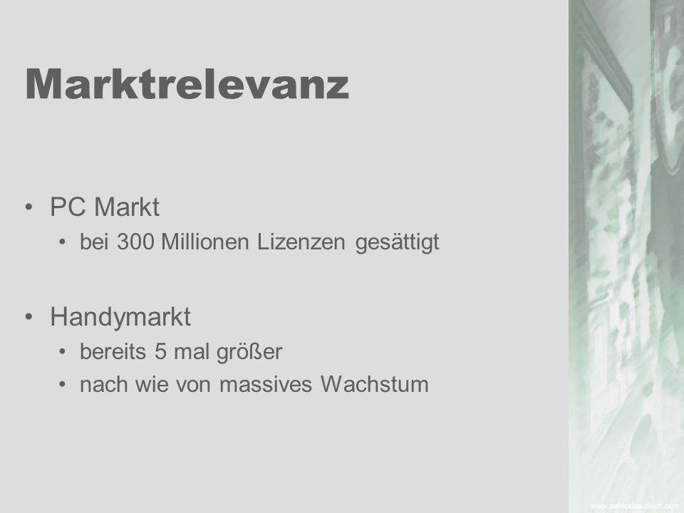 Marktrelevanz PC Markt Handymarkt bei 300 Millionen Lizenzen gesättigt