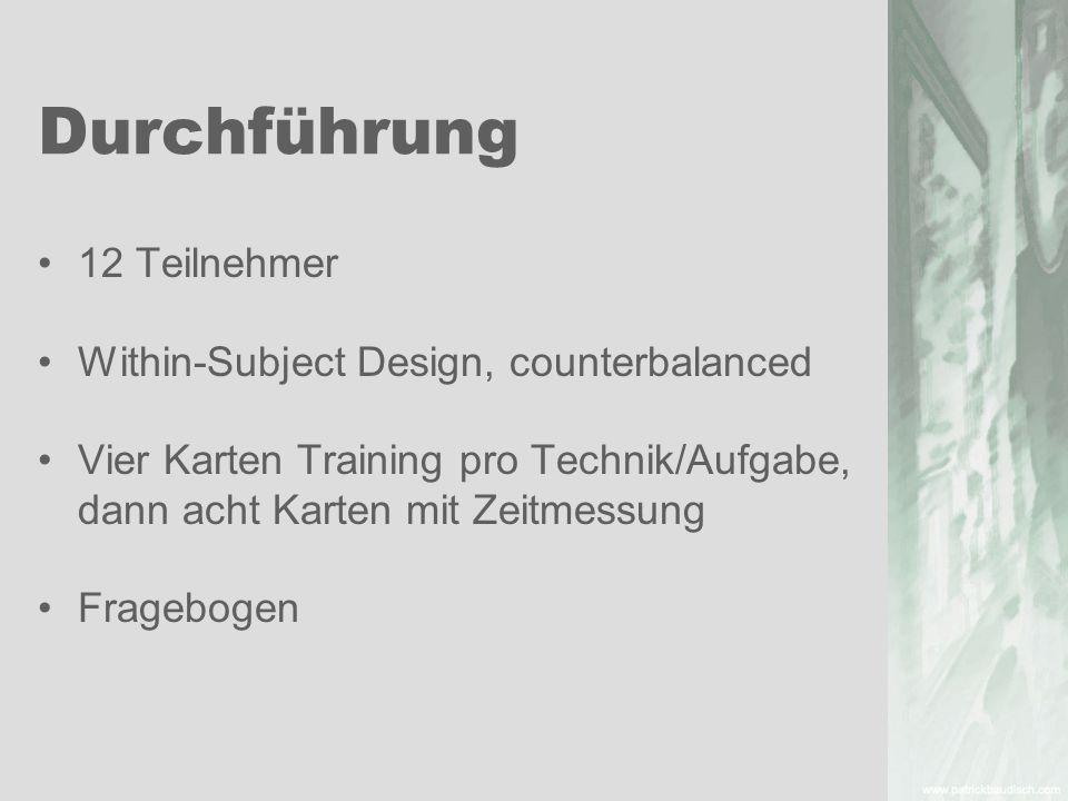 Durchführung 12 Teilnehmer Within-Subject Design, counterbalanced