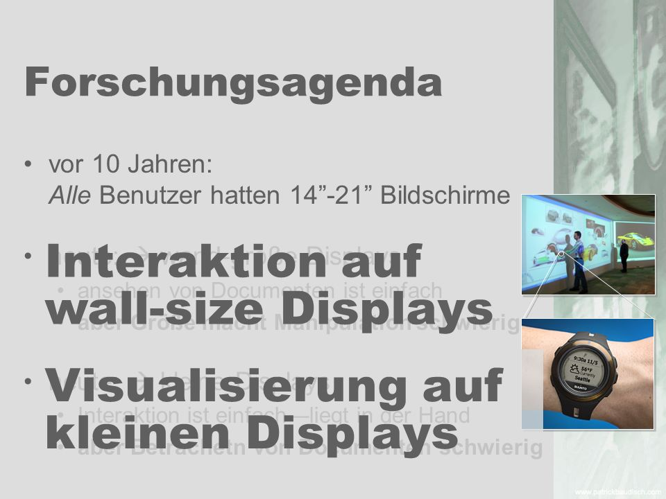 Interaktion auf wall-size Displays