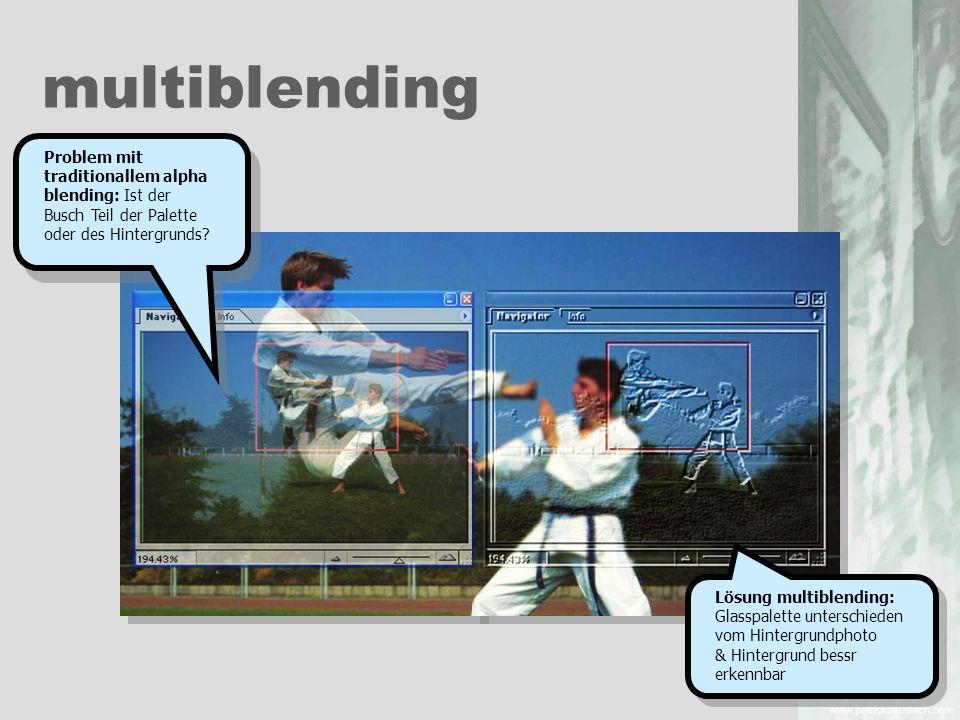 multiblending Problem mit traditionallem alpha blending: Ist der Busch Teil der Palette oder des Hintergrunds