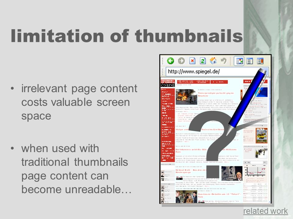 limitation of thumbnails