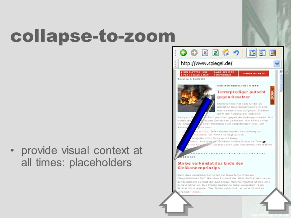 collapse-to-zoom provide visual context at all times: placeholders