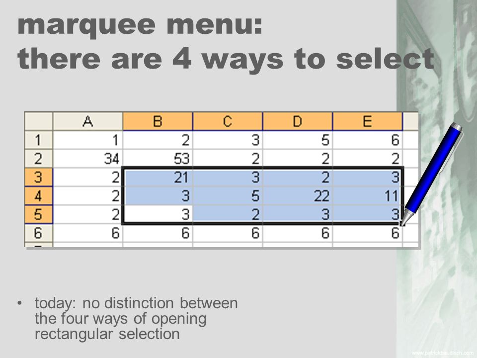 marquee menu: there are 4 ways to select
