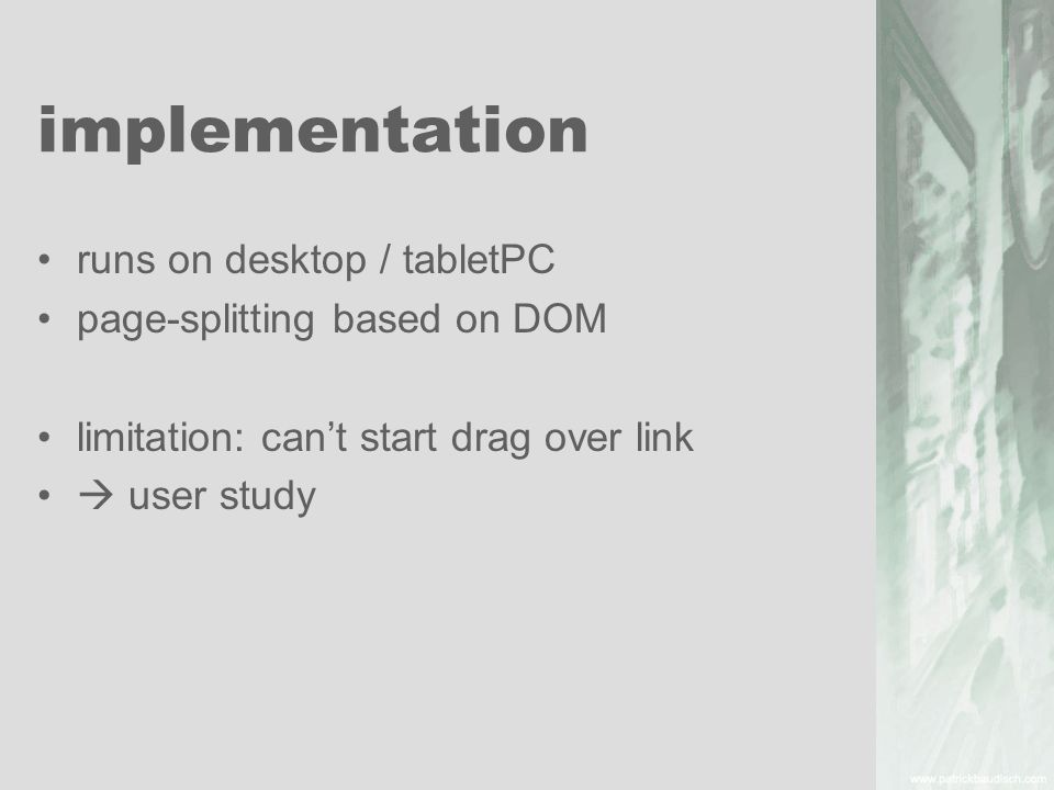 implementation runs on desktop / tabletPC page-splitting based on DOM