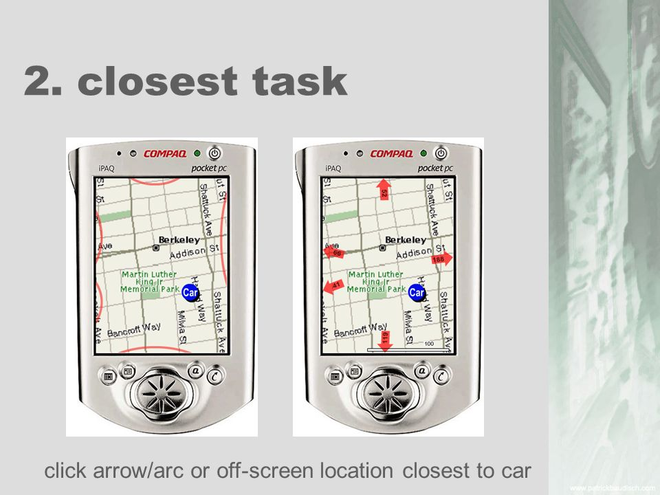2. closest task click arrow/arc or off-screen location closest to car