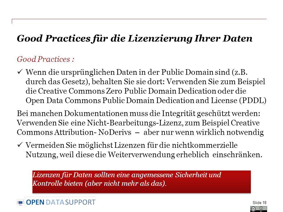 Good Practices für die Lizenzierung Ihrer Daten