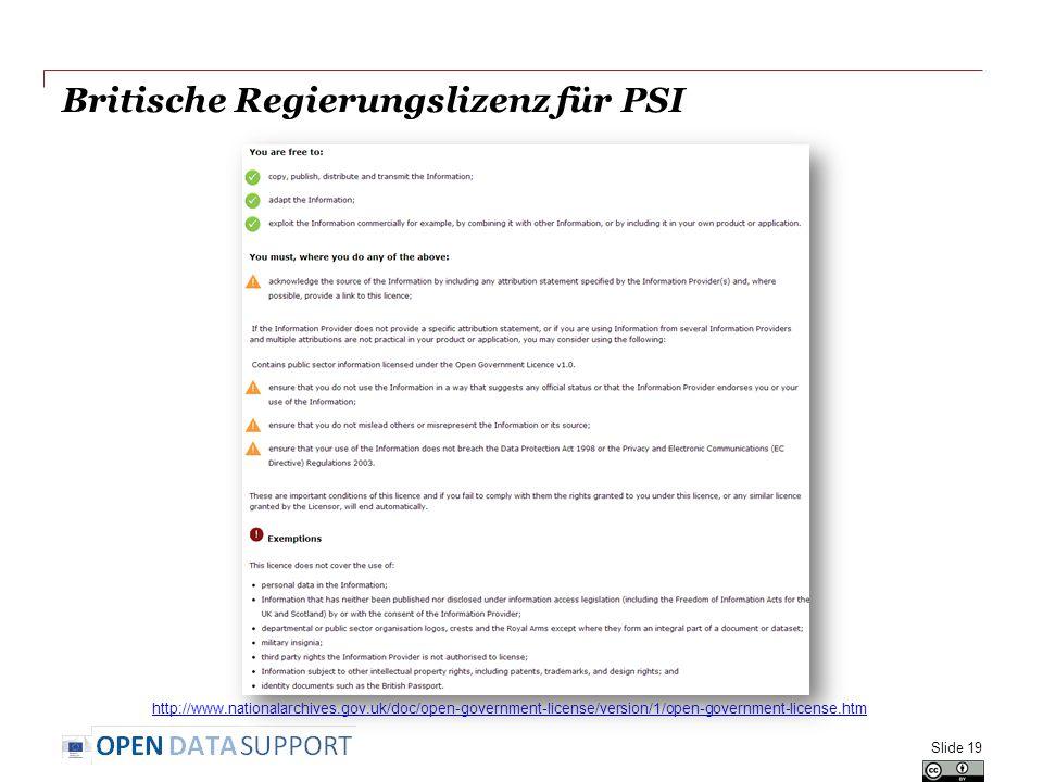 Britische Regierungslizenz für PSI