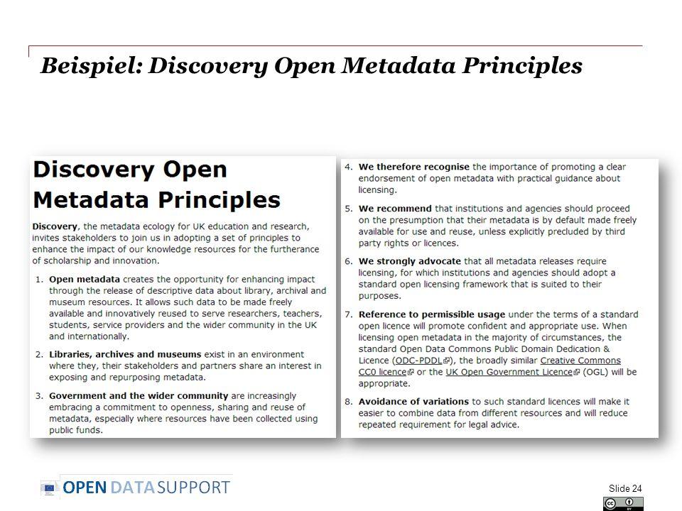 Beispiel: Discovery Open Metadata Principles