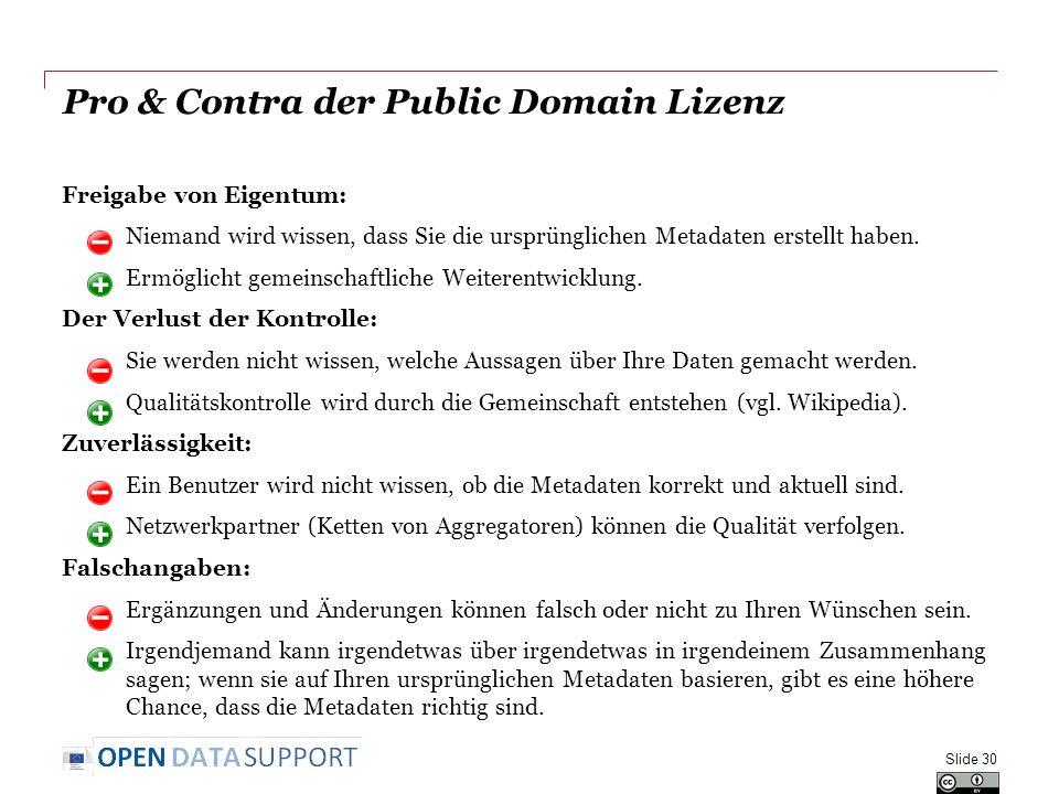 Pro & Contra der Public Domain Lizenz