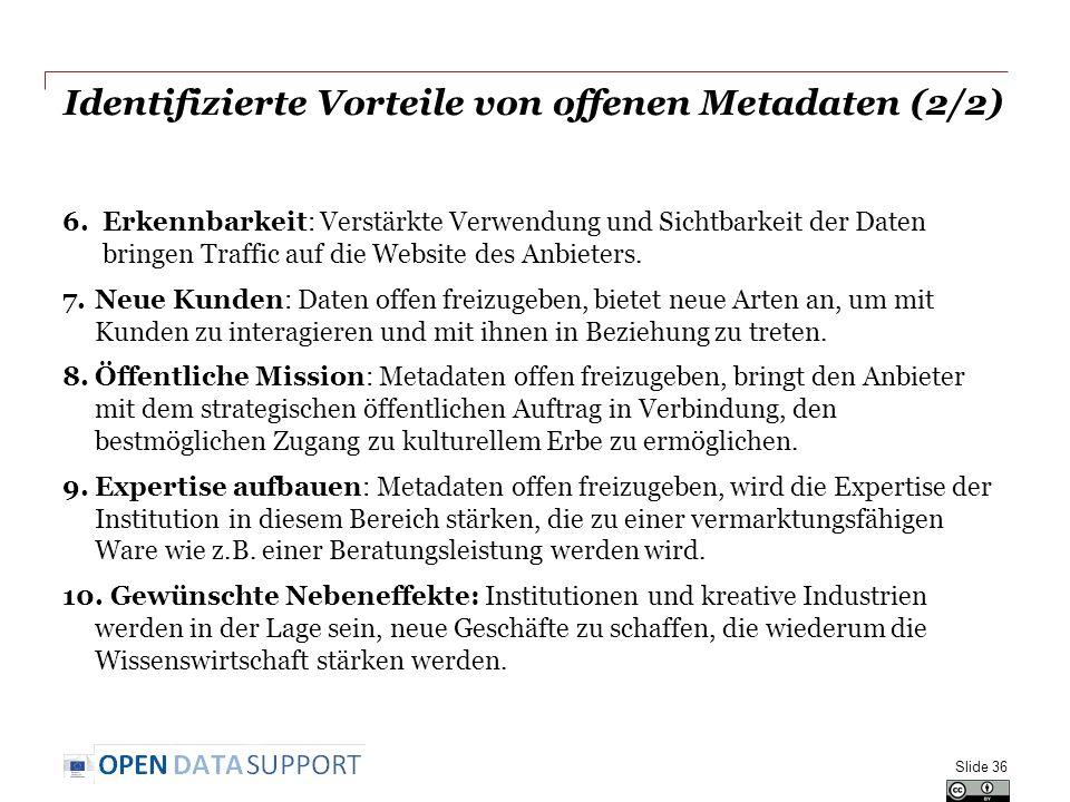 Identifizierte Vorteile von offenen Metadaten (2/2)