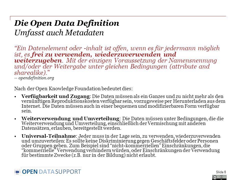 Die Open Data Definition Umfasst auch Metadaten