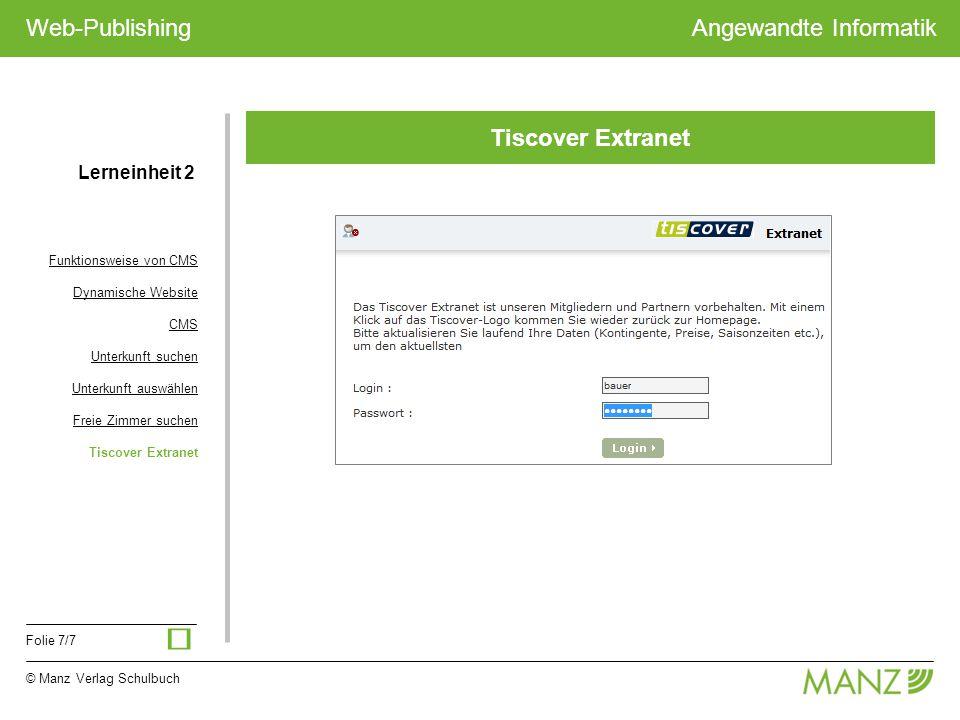 ü Tiscover Extranet Lerneinheit 2 Funktionsweise von CMS