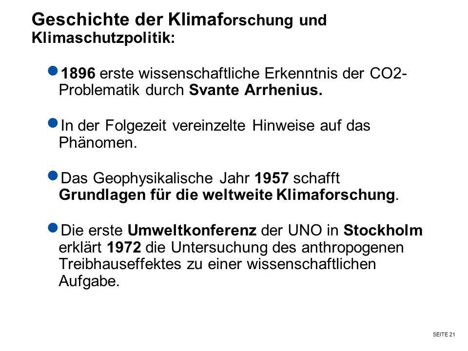 Geschichte der Klimaforschung und Klimaschutzpolitik: