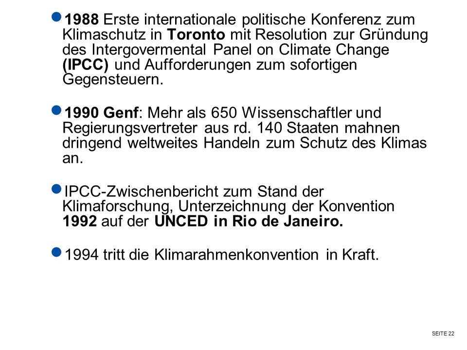 1988 Erste internationale politische Konferenz zum Klimaschutz in Toronto mit Resolution zur Gründung des Intergovermental Panel on Climate Change (IPCC) und Aufforderungen zum sofortigen Gegensteuern.