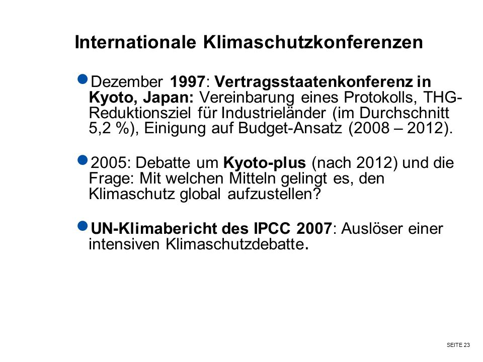 Internationale Klimaschutzkonferenzen