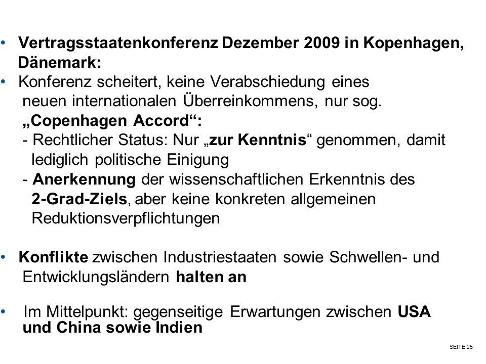 Vertragsstaatenkonferenz Dezember 2009 in Kopenhagen,